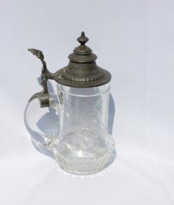 Pivový pohár s cínovým vikom monogram RF - krigel